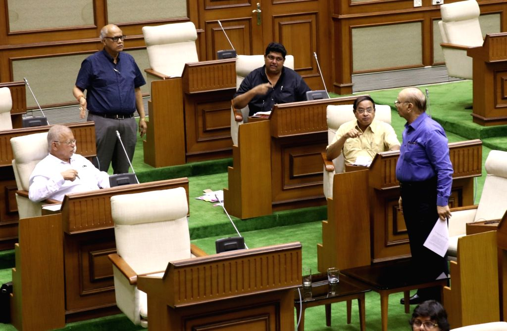 Congress MLAs Digambar Kamat, Luizinho Faleiro, Pratapsingh Rane, Ravi Naik and Alexio Reginald Lawrence during Goa Assembly Monsoon Session, in Porvorim on July 16, 2019.