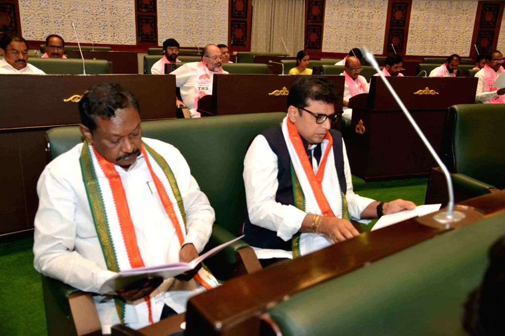 Congress MLAs during the Budget Session of the state assembly in Hyderabad on Sep 9, 2019.