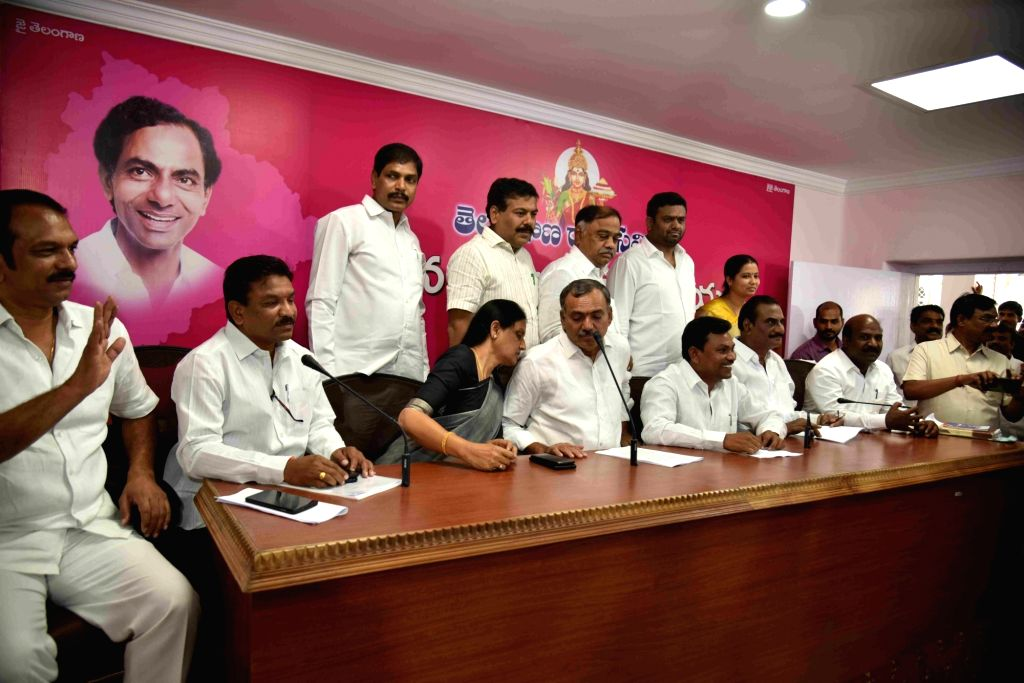 Congress MLAs who joined TRS addresses a press conference in Hyderabad on June 12, 2019.