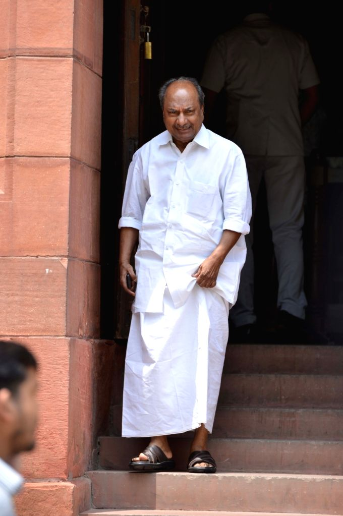 Congress MP A. K. Antony at Parliament, in New Delhi on Aug 9, 2018.