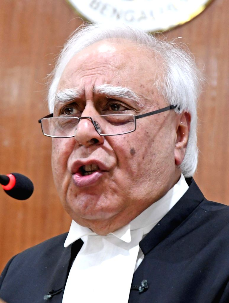 "Congress MP and senior lawyer Kapil Sibal addresses during a speak on ""Prevailing Scenario in Indian Judiciary"" at High Court , in Bengaluru on March 7, 2019."