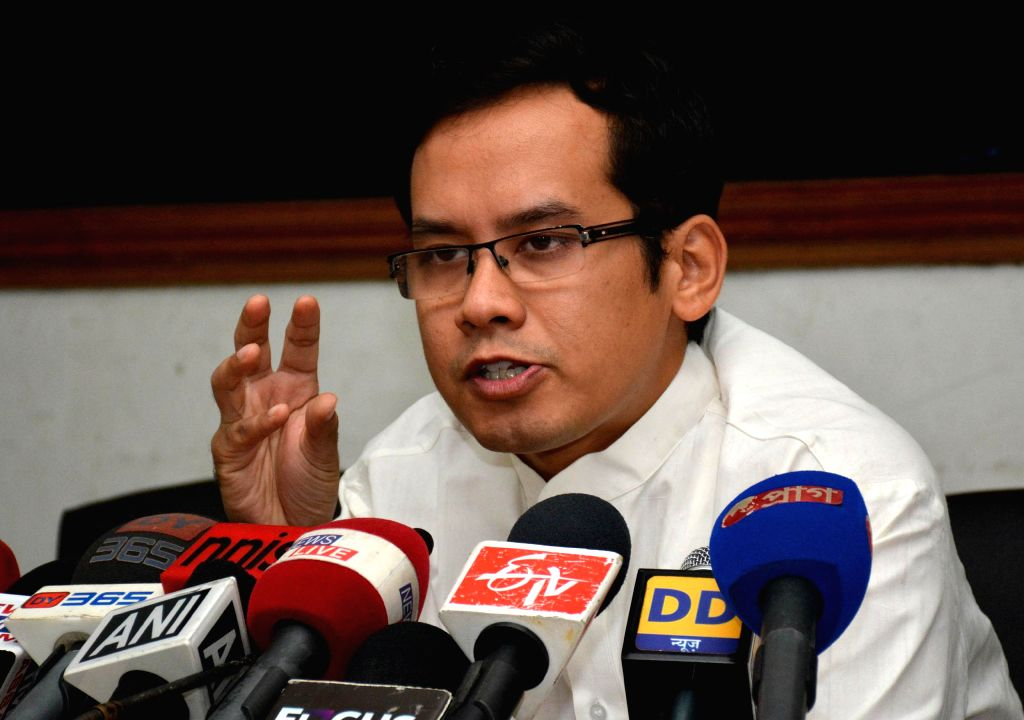 Congress MP from Kaliabor Gaurav Gogoi addresses a press conference in Guwahati on July 28, 2014. (Photo: IANS)