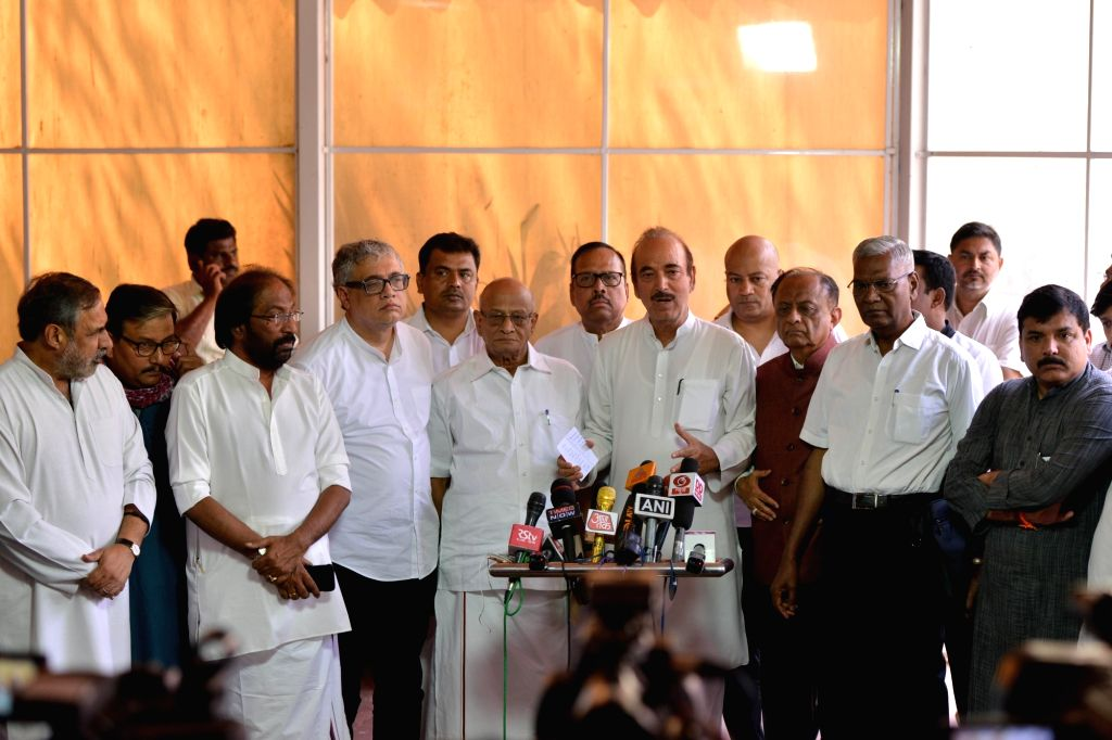 Congress MP Ghulam Nabi Azad along with party MP Anand Sharma, Trinamool Congress MP Derek O'Brien, CPI MP D. Raja, AAP MP Sanjay Singh, RJD MP Manoj Jha and other opposition leaders, ... - Anand Sharma and Sanjay Singh
