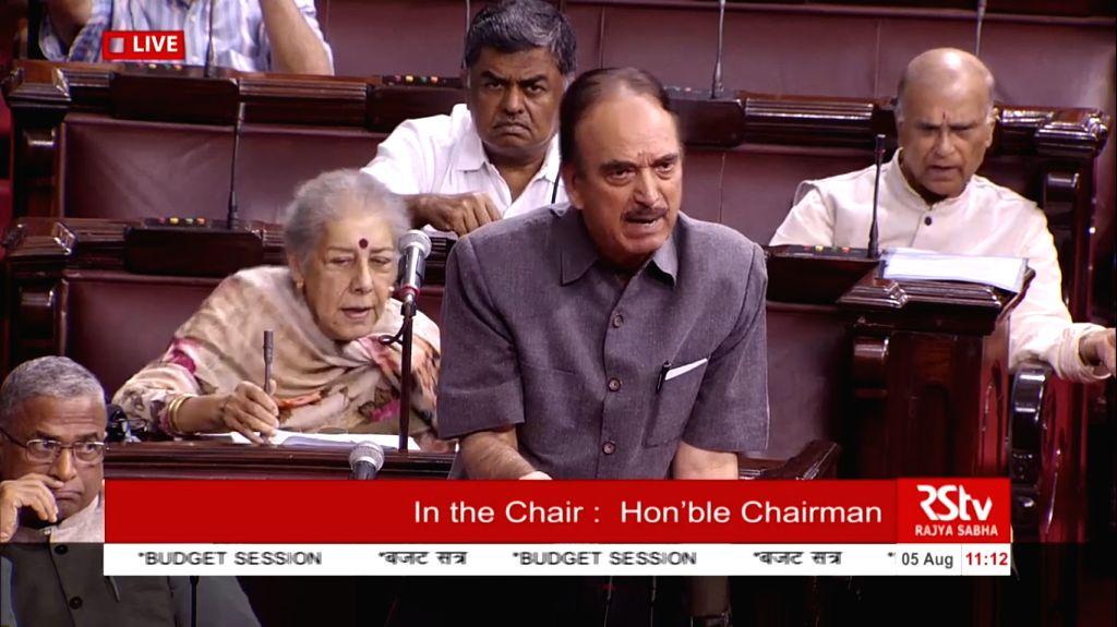 Congress MP Ghulam Nabi Azad in Rajya Sabha on Aug 5, 2019.