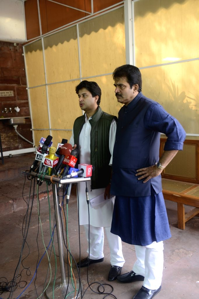 Congress MP Jyotiraditya Scindia talks to press at Parliament in New Delhi on Dec 1, 2016.