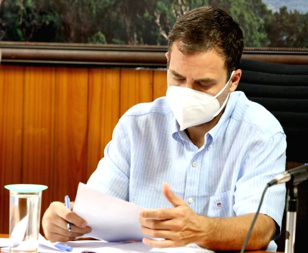 Congress MP Rahul Gandhi attends the District development coordination & monitoring committee meeting at Wayanad Collectorate, in Wayanad district of Kerala on Oct 20, 2020. - Rahul Gandhi