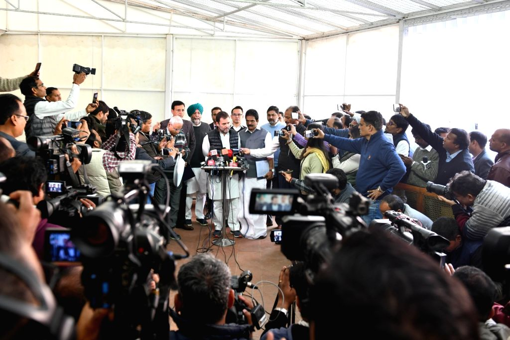 Congress MP Rahul Gandhi talks to the media personnel at Parliament during the Budget Session, in New Delhi on Feb 10, 2020. - Rahul Gandhi