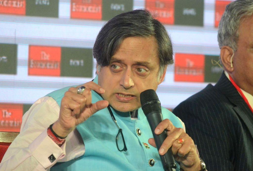 Congress MP Shashi Tharoor addresses at 'The Economist India Summit 2018', in Mumbai on Oct 25, 2018. - Shashi Tharoor