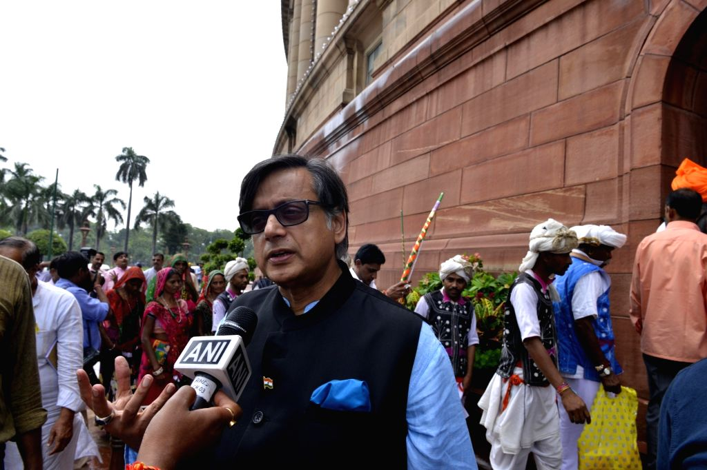 Congress MP Shashi Tharoor at Parliament in New Delhi on Aug 9, 2017. - Shashi Tharoor