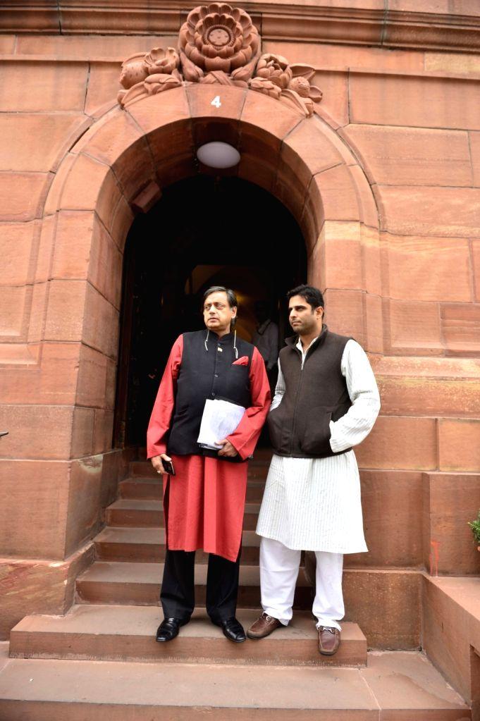 Congress MP Shashi Tharoor at the Parliament in New Delhi, on Dec 9, 2015. - Shashi Tharoor
