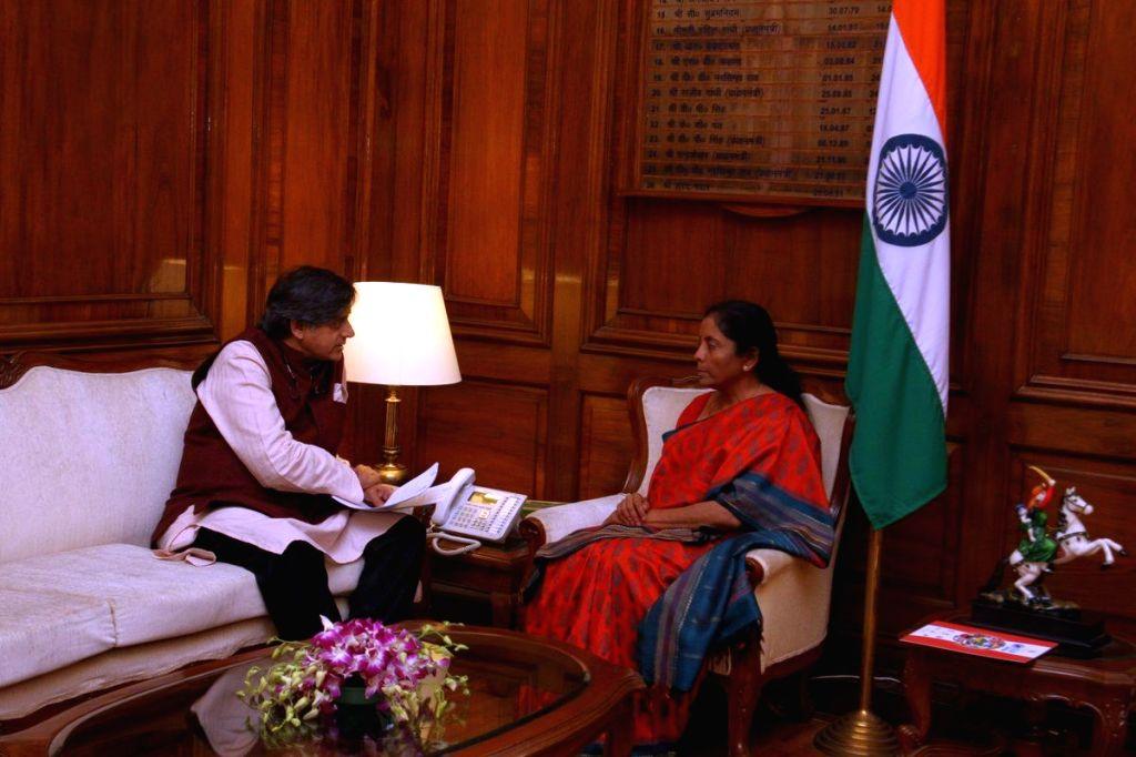 Congress MP Shashi Tharoor calls on Defence Minister Nirmala Sitharaman in New Delhi, on Feb 6, 2019. - Nirmala Sitharaman and Shashi Tharoor