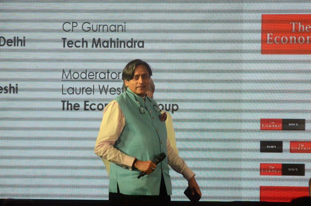 Congress MP Shashi Tharoor during 'The Economist India Summit 2018', in Mumbai on Oct 25, 2018. - Shashi Tharoor