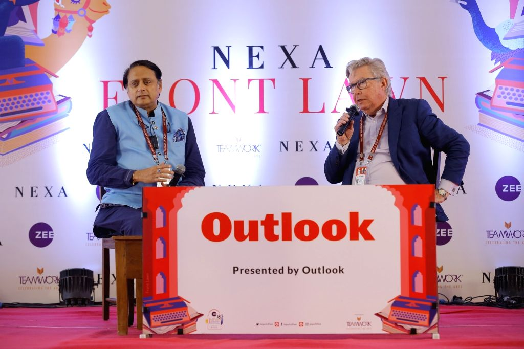 Congress MP Shashi Tharoor interacts with Michael Dwyer on Day 2 of the 13th annual edition of the Zee Jaipur Literature Festival at Diggi Palace, on Jan 24, 2020. - Shashi Tharoor