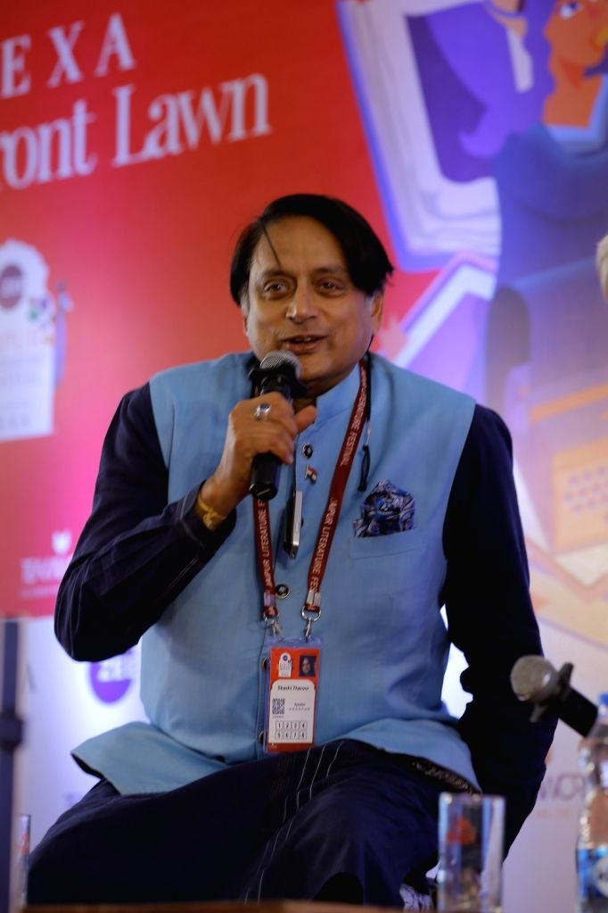 Congress MP Shashi Tharoor speaks at the session ???Shashi on Shashi??? on Day 2 of the 13th annual edition of the Zee Jaipur Literature Festival at Diggi Palace, on Jan 24, 2020. - Shashi Tharoor