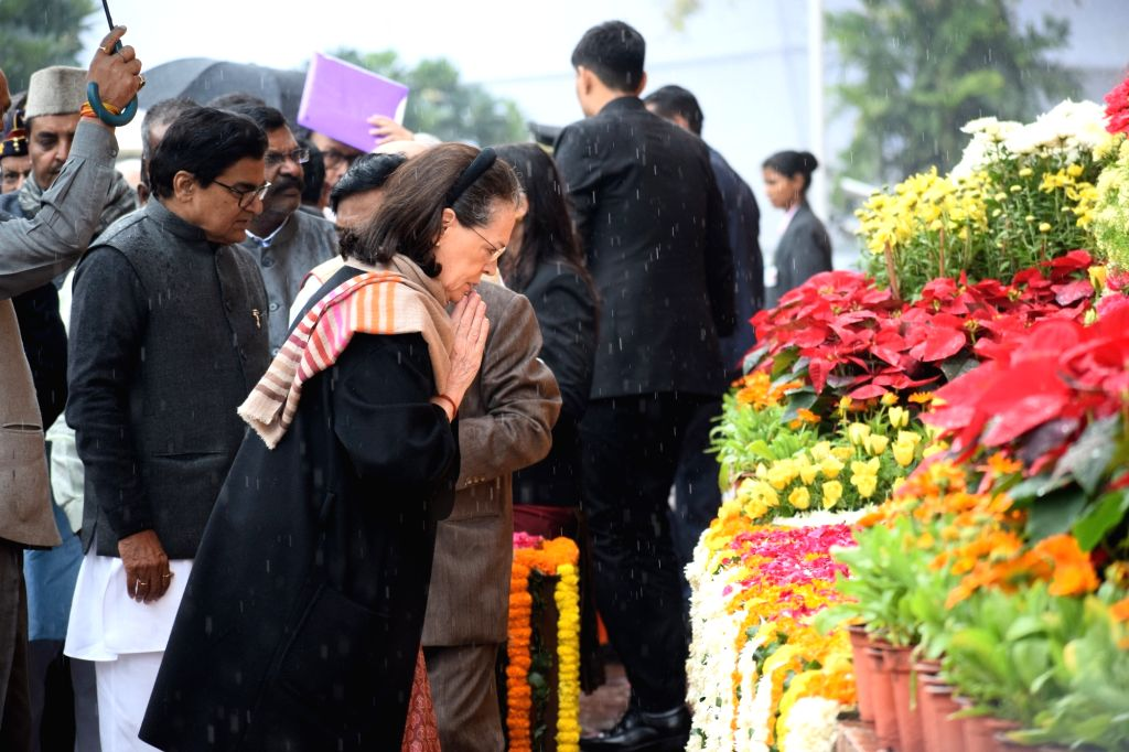 Congress MP Sonia Gandhi pays tributes to the martyrs on 18th anniversary of Parliament attack at Parliament House in New Delhi on Dec 13, 2019. - Sonia Gandhi