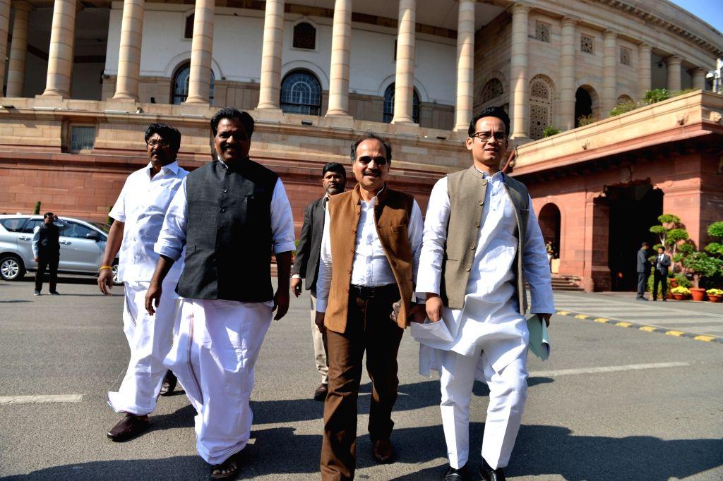 Congress MPs Adhir Ranjan Choudhary and Gaurav Gogoi at Parliament in New Delhi on Dec 3, 2019. - Adhir Ranjan Choudhary