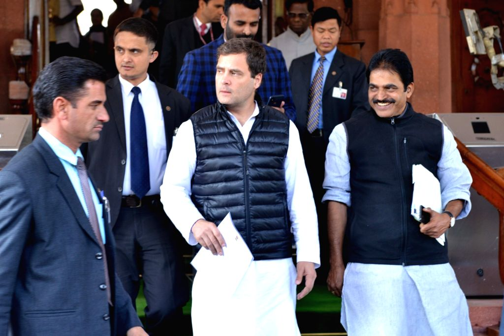 Congress MPs Rahul Gandhi and K. C. Venugopal at Parliament in New Delhi, on Feb 4, 2019. - Rahul Gandhi