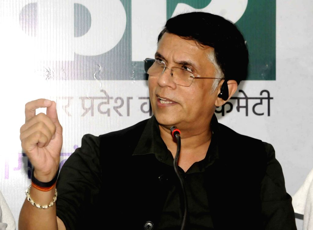 Congress National Spokesperson Pawan Khera addresses a press conference ahead of Bihar Assembly elections, in Patna on Oct 23, 2020.