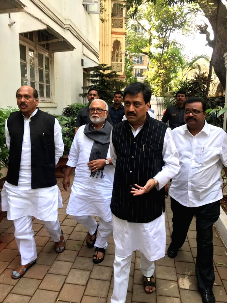 Congress-NCP delegation led by Congress leaders Manikrao Thakre, Ashok Shankarrao Chavan and NCP leaders Chhagan Bhujbal and Sameer Bhujbal  arrive to meet Bharipa Bahujan Mahasangh (BBM) ...