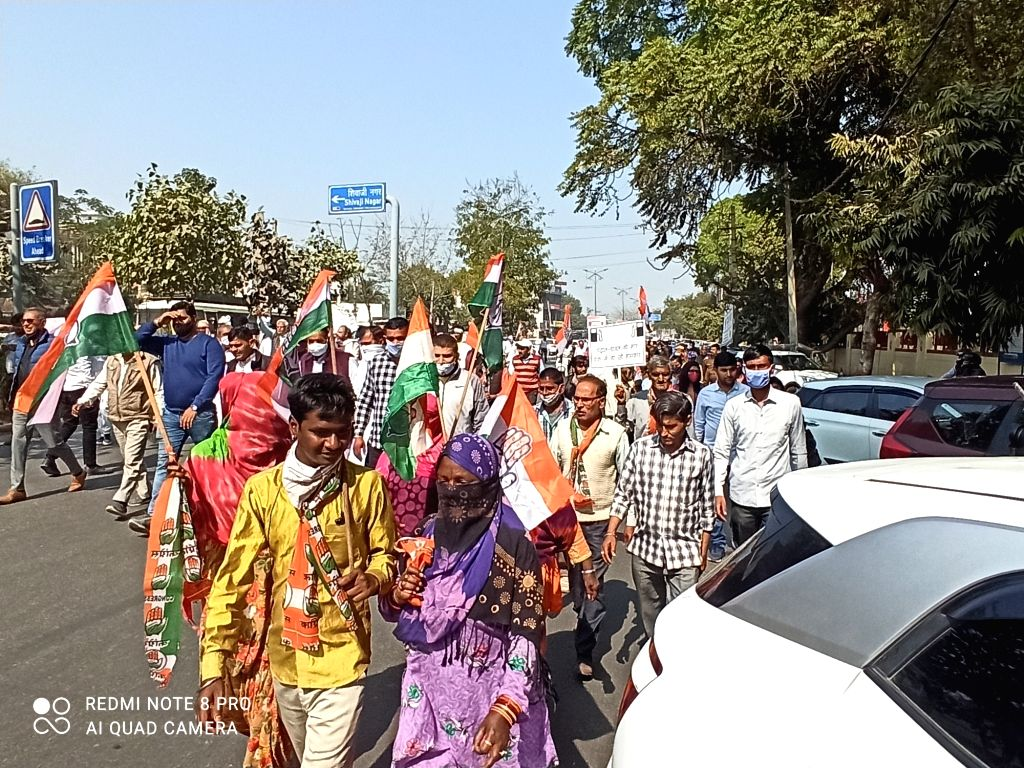 Congress party activists protest in Gurugram against fuel price hike