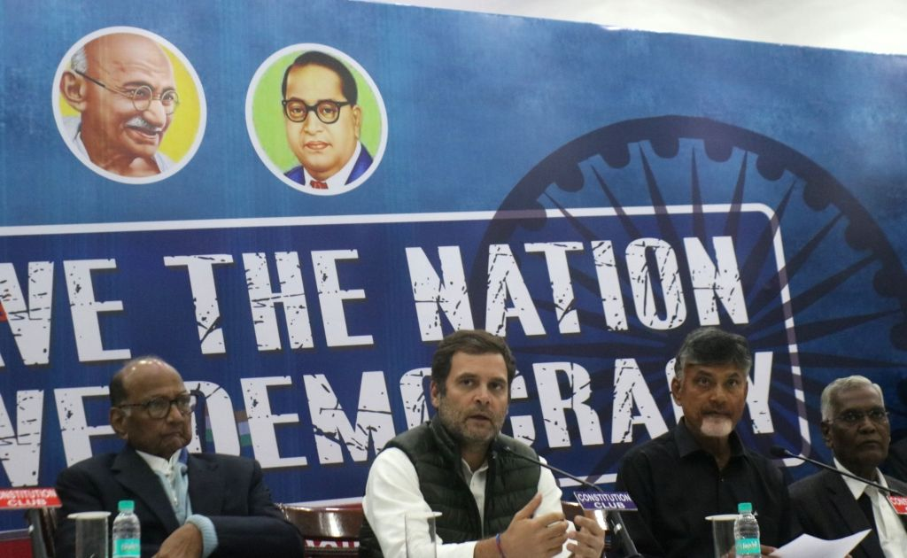 Congress President Rahul Gandhi accompanied by Nationalist Congress Party (NCP) chief Sharad Pawar, Andhra Pradesh Chief Minister and Telugu Desam Party (TDP) chief N. Chandrababu Naidu ... - Rahul Gandhi and N. Chandrababu Naidu