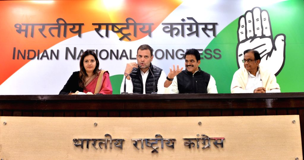 Congress President Rahul Gandhi accompanied by party leaders Priyanka Chaturvedi, K. C. Venugopal and P. Chidambaram, addresses a press conference in New Delhi on Feb 8, 2019. - Rahul Gandhi