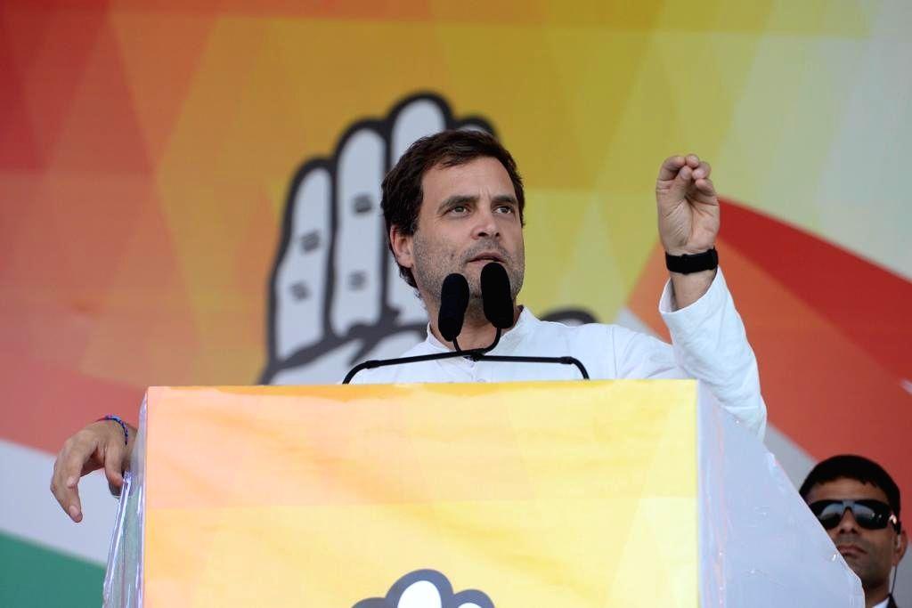 Congress President Rahul Gandhi addresses a public meeting in Odisha's Rourkela, on Feb 6, 2019. - Rahul Gandhi