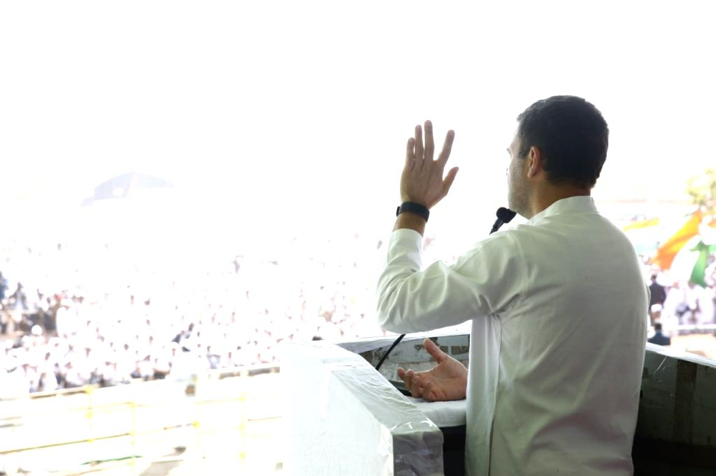 Congress President Rahul Gandhi addresses a public meeting in Ajmer, on Feb 14, 2019. - Rahul Gandhi