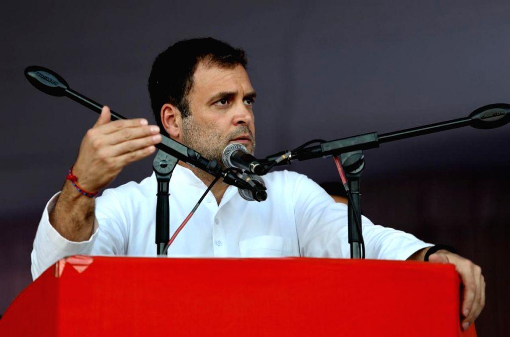 Congress President Rahul Gandhi addresses a public meeting in Tirupati, Andhra Pradesh, on Feb 22, 2019. - Rahul Gandhi