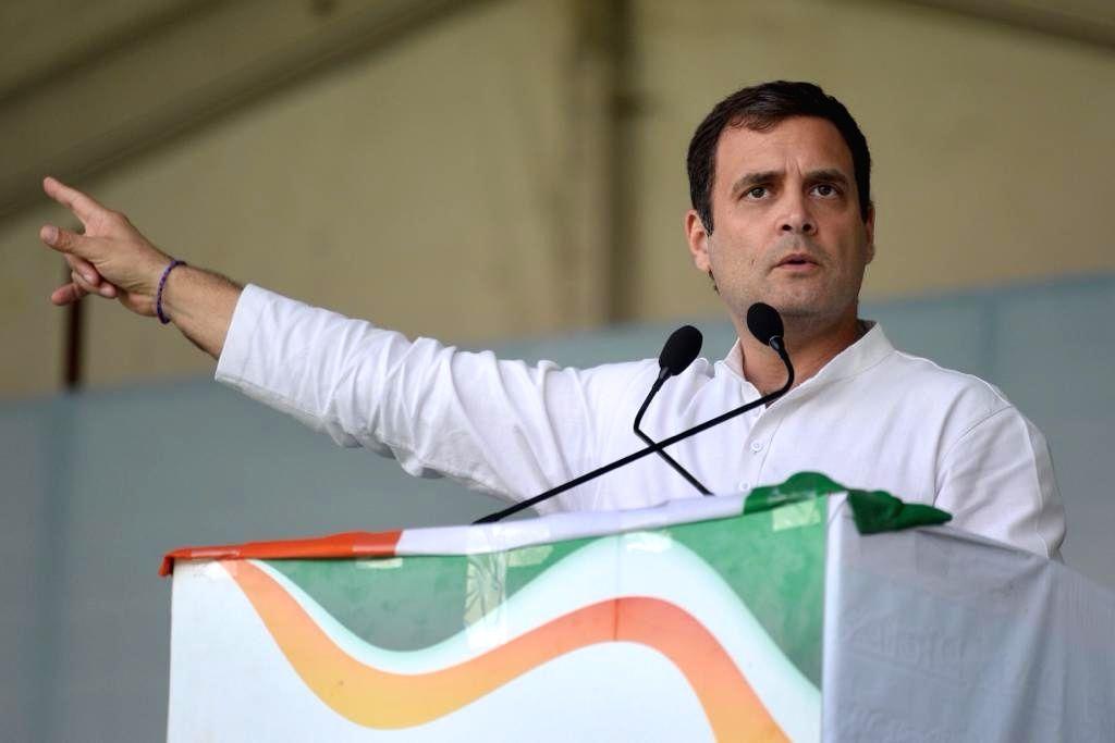 Congress President Rahul Gandhi addresses a public meeting in Kangra, Himachal Pradesh, on March 7, 2019. - Rahul Gandhi