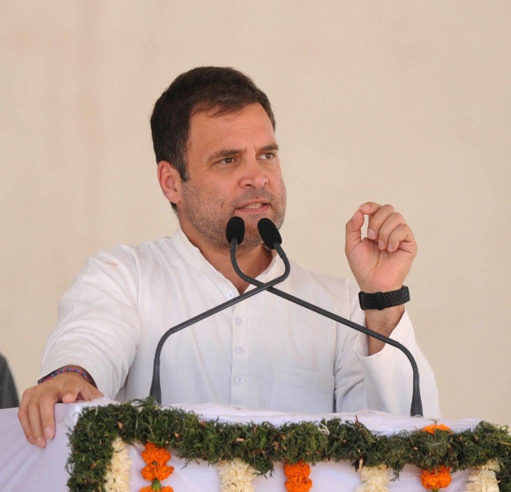 Congress President Rahul Gandhi addresses a public rally in Karnataka's Kolar, on April 13, 2019. - Rahul Gandhi
