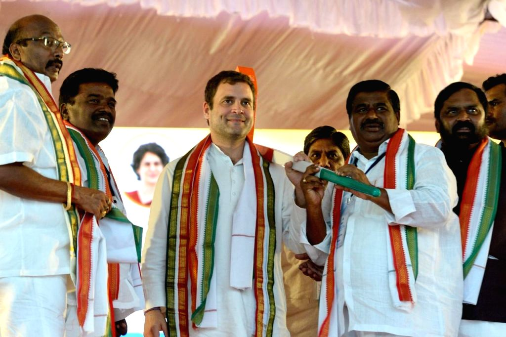 Congress president Rahul Gandhi addresses a a public meeting in Telangana's Shamshabad on March 9, 2019. - Rahul Gandhi