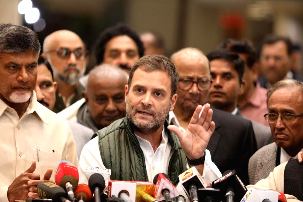 Congress President Rahul Gandhi addresses a press conference in New Delhi on Dec 10, 2018. - Rahul Gandhi