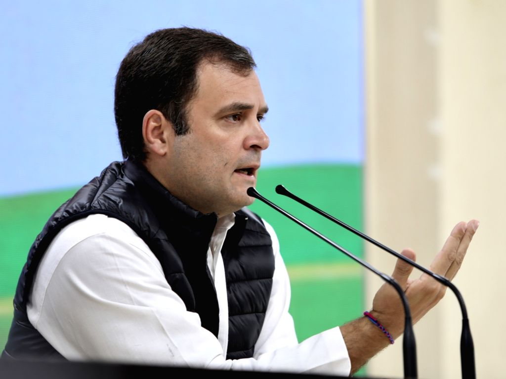 Congress President Rahul Gandhi addresses a press conference in New Delhi, on March 7, 2019. - Rahul Gandhi