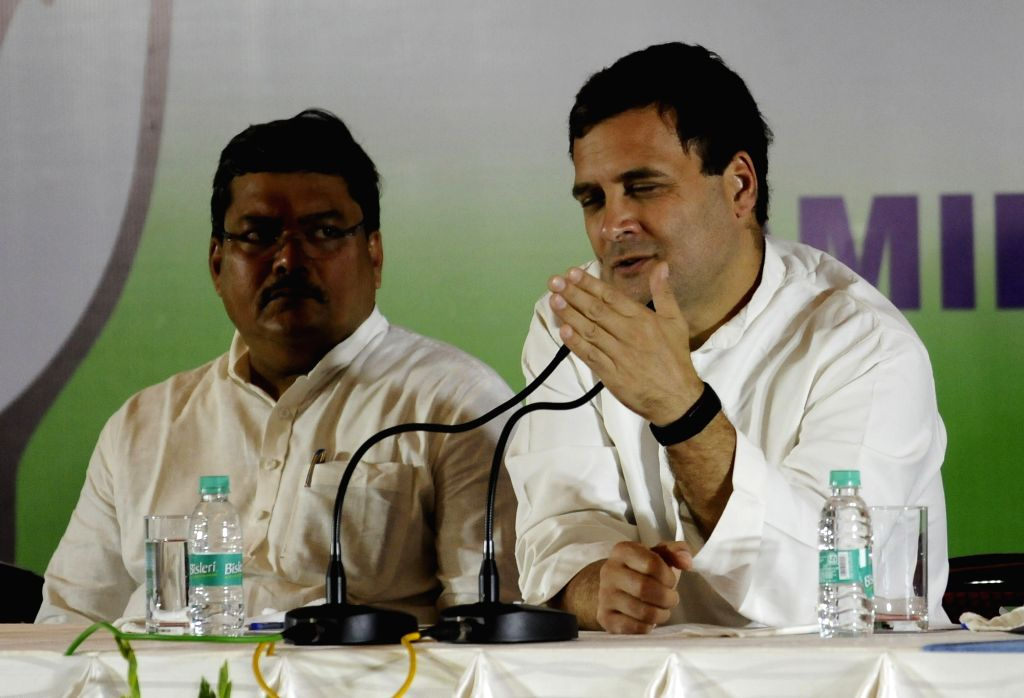 Congress President Rahul Gandhi addresses a press conference in Chennai, on March 13, 2019. - Rahul Gandhi