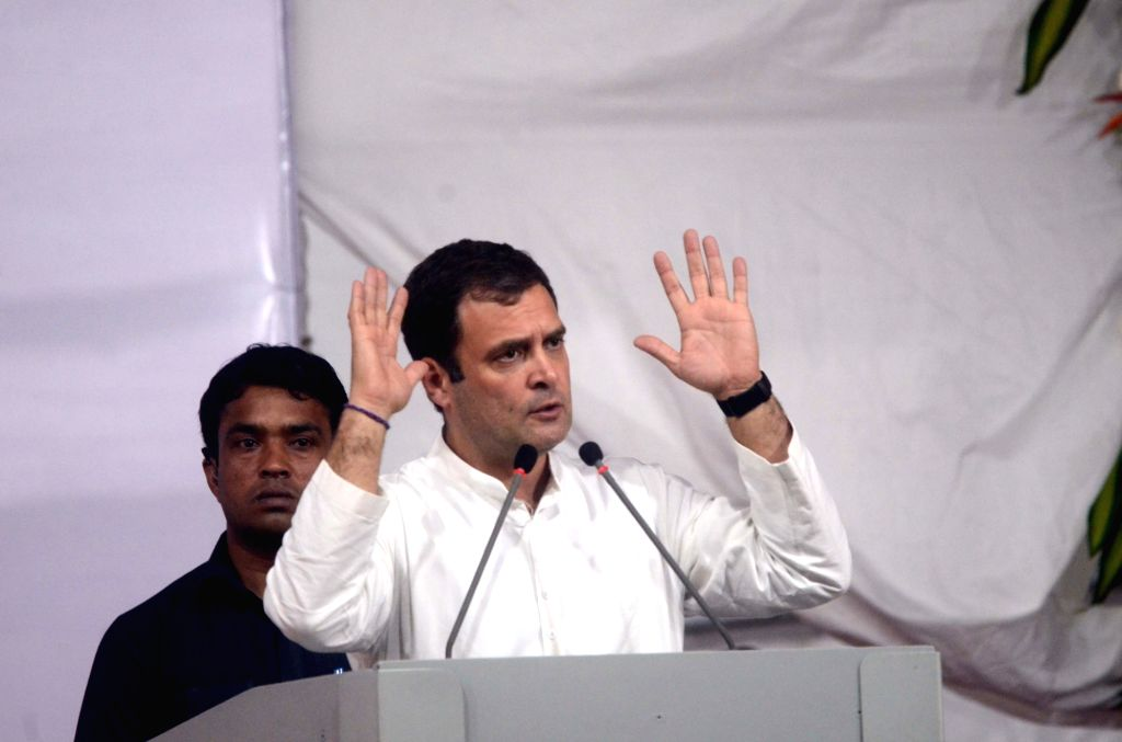 Congress President Rahul Gandhi addresses a rally in Mumbai, on March 1, 2019. - Rahul Gandhi
