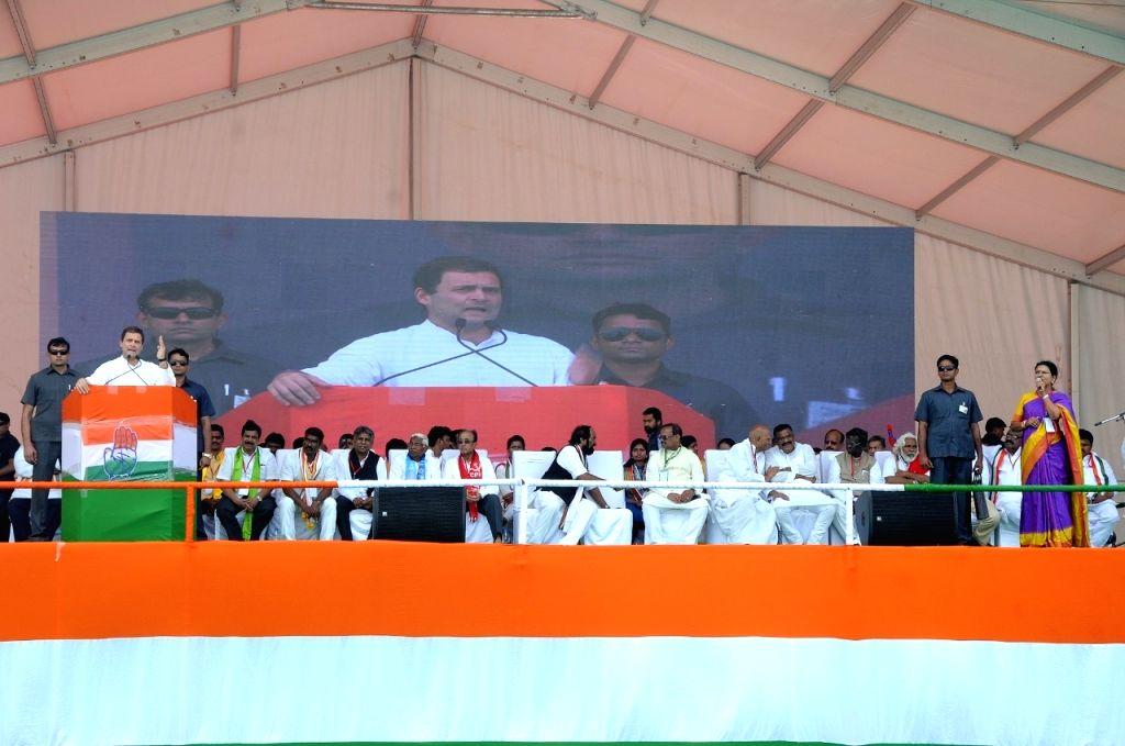 Congress President Rahul Gandhi addresses at a public meeting in Gadwal, Telangana, on Dec 3, 2018. - Rahul Gandhi