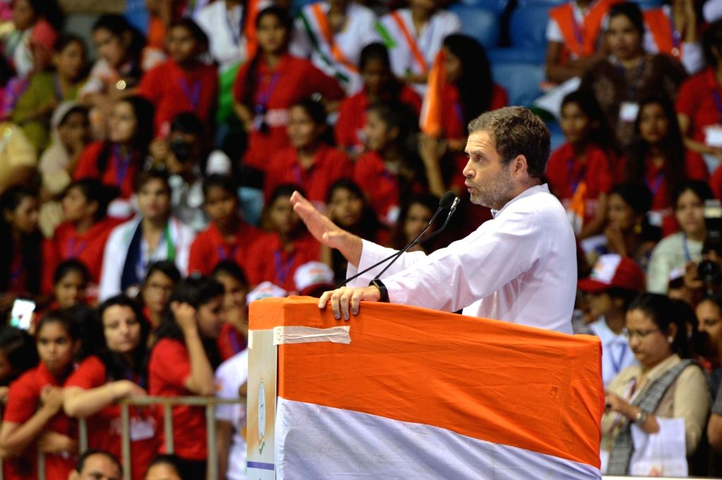 Congress President Rahul Gandhi addresses at the Mahila Adhikar Sammelan organised by All India Mahila Congress (AIMC), in New Delhi, on Aug 7, 2018. - Rahul Gandhi