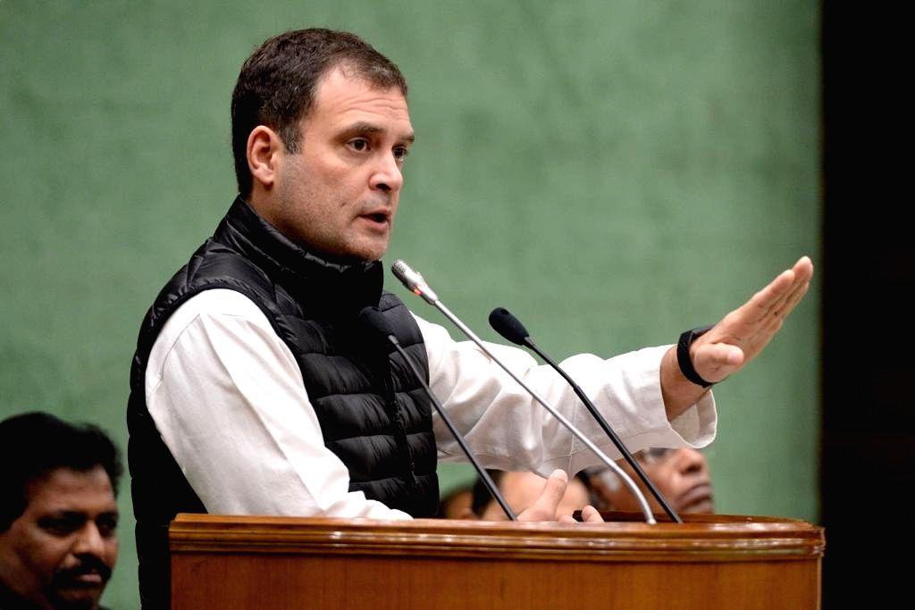 Congress President Rahul Gandhi addresses at the Parliamentary Party meeting in New Delhi, on Feb 13, 2019. - Rahul Gandhi