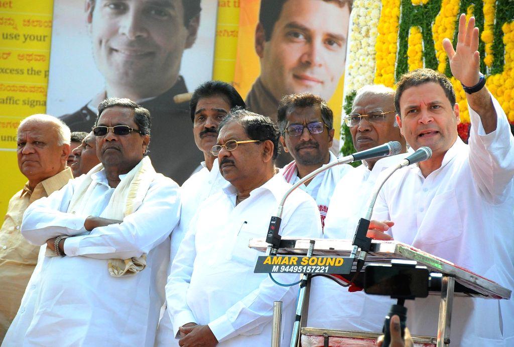 Congress President Rahul Gandhi addresses during the third day of 'Jana Aashirwada Yatre' rally in Kushtagi of Karnataka's Koppal District on Feb 12, 2018. - Rahul Gandhi