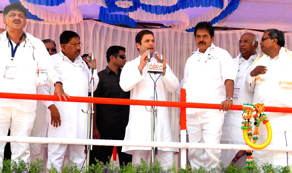 Congress President Rahul Gandhi addresses during a party rally in K.R. Pet of Karnataka's Mandya district on March 25, 2018. - Rahul Gandhi