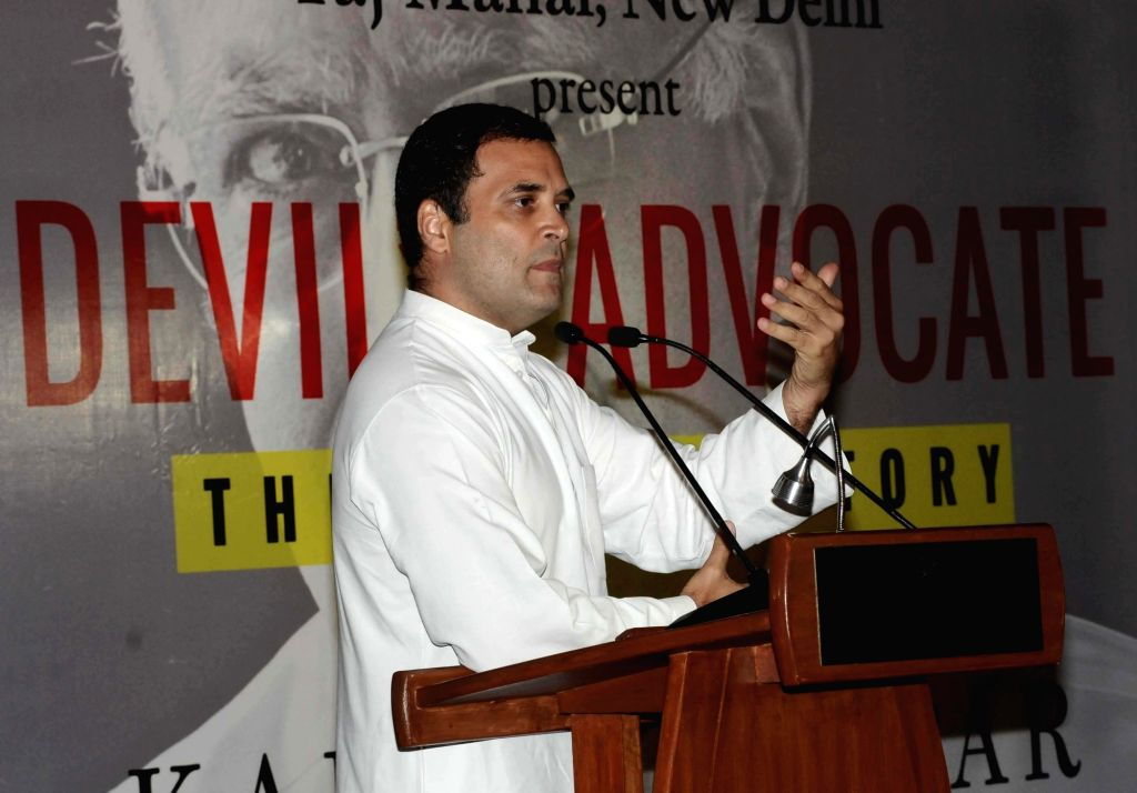 """Congress president Rahul Gandhi addresses during the book release titled """"Devil's Advocate"""" authored by journalist Karan Thapar in New Delhi on July 25, 2018. - Rahul Gandhi"""