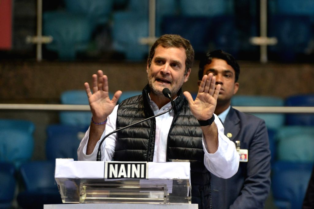 Congress President Rahul Gandhi addresses during a party programme in New Delhi on Jan 30, 2019. - Rahul Gandhi