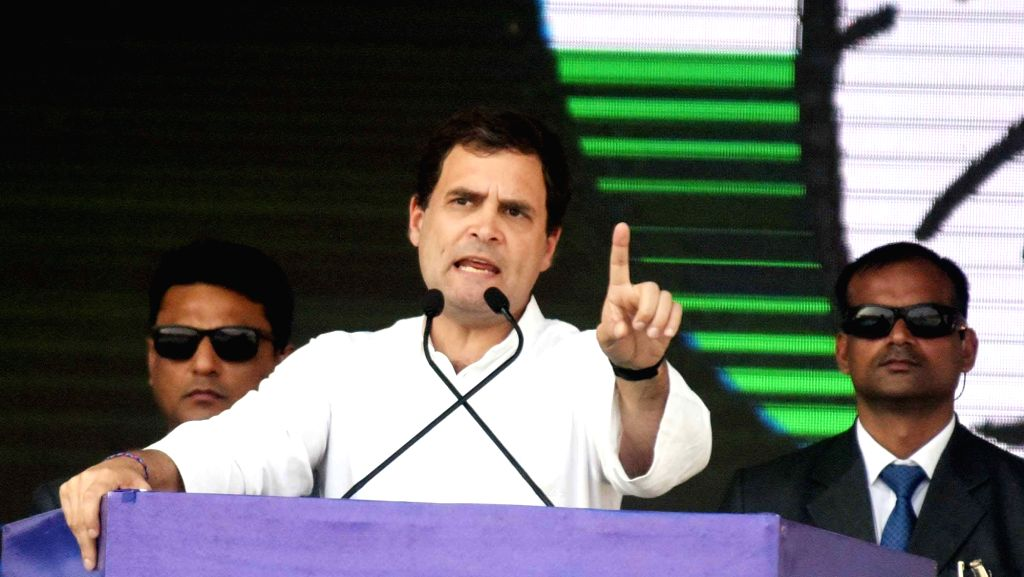 Congress President Rahul Gandhi addresses during a party rally in Patna on Feb 3, 2019. - Rahul Gandhi