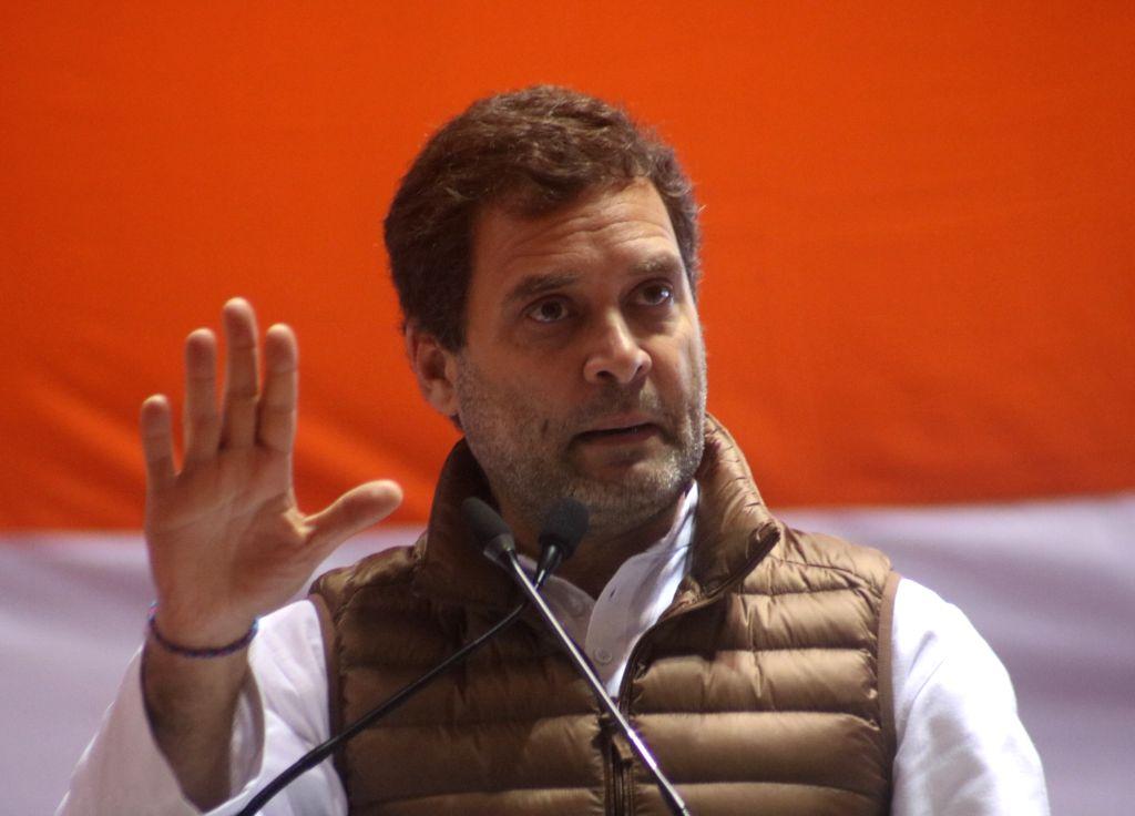 Congress President Rahul Gandhi addresses during national convention of the party's Minority department at Jawaharlal Nehru Stadium in New Delhi, on Feb 7, 2019. - Rahul Gandhi
