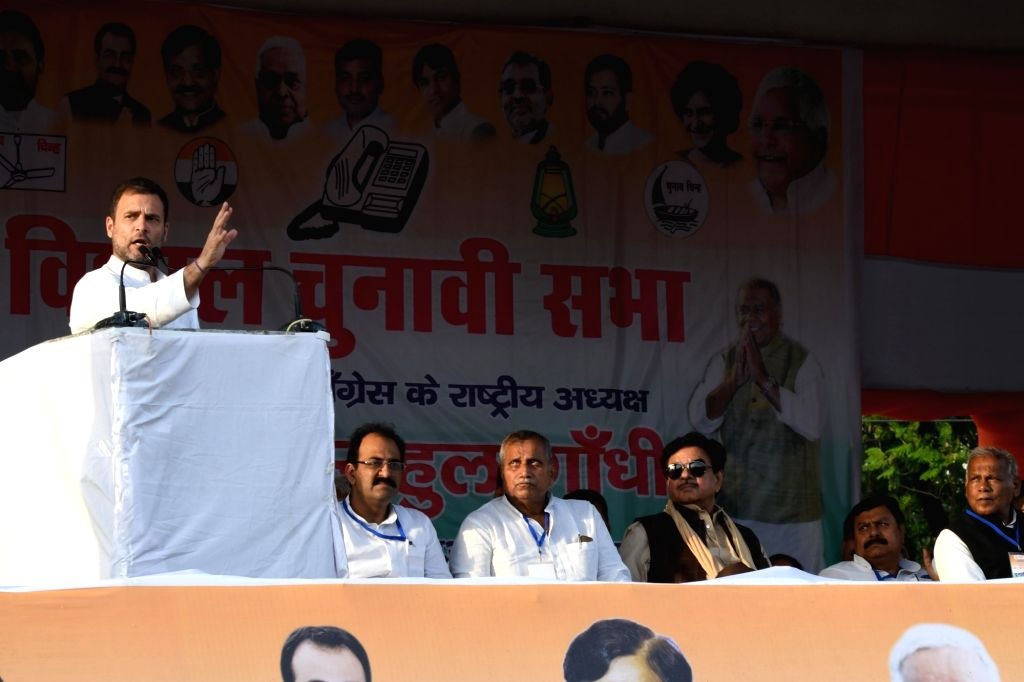 Congress President Rahul Gandhi addresses during a party rally in Gaya, Bihar on April 9, 2019. - Rahul Gandhi