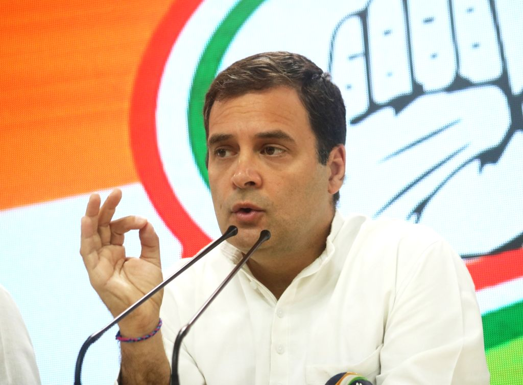 Congress president Rahul Gandhi addresses media at AICC headquarter in New Delhi on May 4, 2019. - Rahul Gandhi