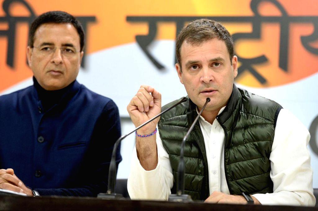 Congress president Rahul Gandhi addressing media at Congress headquarter in New Delhi on Feb. 12, 2019. - Rahul Gandhi