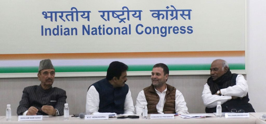 Congress President Rahul Gandhi along with party leaders Ghulam Nabi Azad, K C Venugopal and Mallikarjun Kharge during meeting at party headquarters in New Delhi on Feb 7, 2019. - Rahul Gandhi