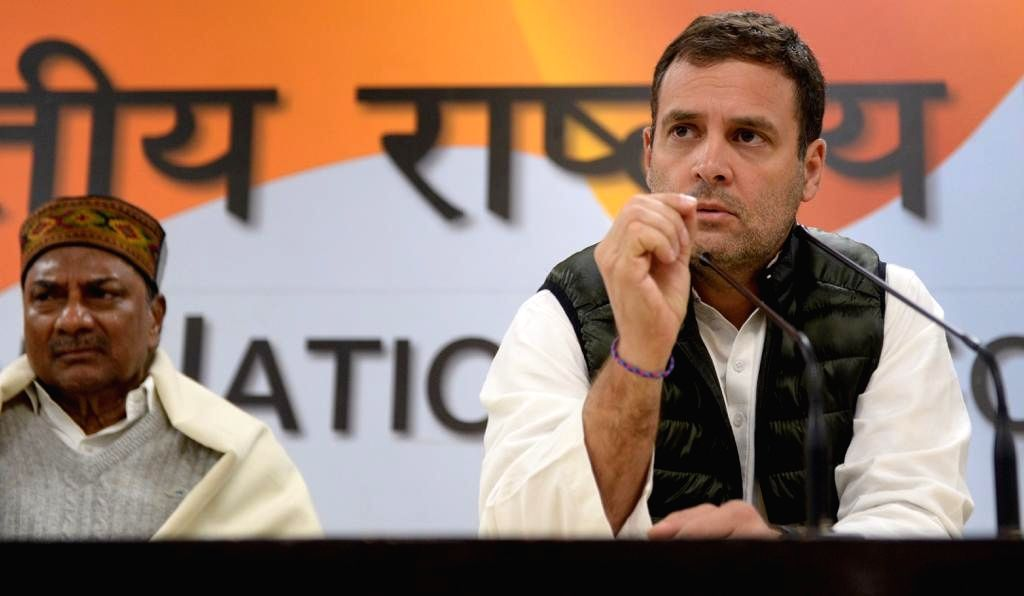 Congress President Rahul Gandhi along with party leader A.K. Antony addresses a press conference in New Delhi, on Feb 15, 2019. - Rahul Gandhi